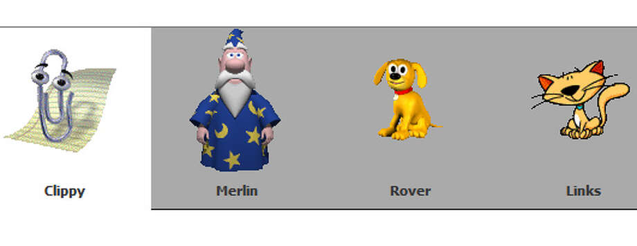 Clippy and friends (from left) Merlin, Rover and Links.