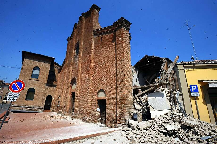 The church of Saint Francesco in the center of Mirandola destroyed by an earthquake on May 29, 2012 in Mirandola, Italy.  The Emilia-Romagna region was again stricken by a series of strong earthquakes, some reaching 5.8 on the richter scale, with the death toll rising to at least 16 people.  (Photo by Roberto Serra/Iguana Press/Getty Images) Photo: Roberto Serra/Iguana Press, Getty Images