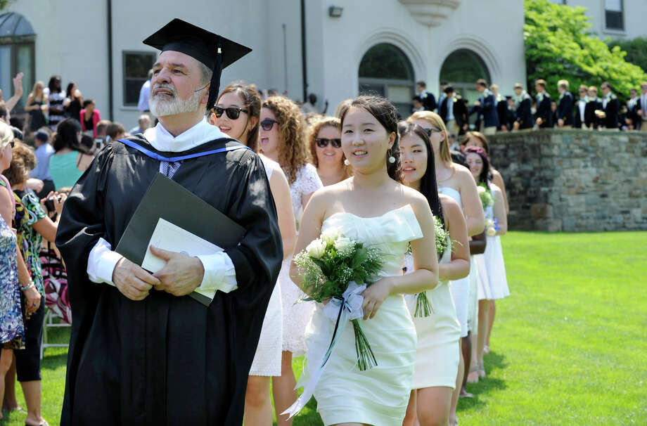 Canterbury School's 2012 graduating class begins the processional walk at the start of commencement exercises Tuesday, May 29, 2012, at the school in New Milford. Photo: Carol Kaliff / The News-Times
