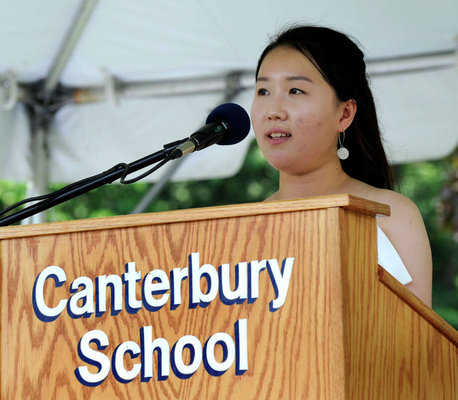 HyeonMin Kim gives the valedictory speech at the Canterbury School graduation ceremony Tuesday, May 29, 2012. Photo: Carol Kaliff / The News-Times