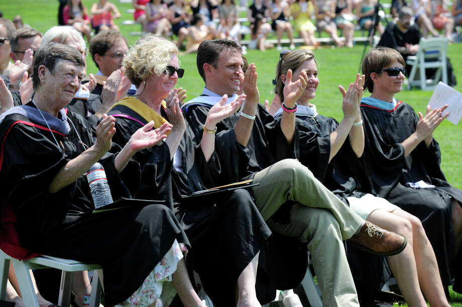 Canterbury School faculty applaud graduation speakers at the school's 95th commencement ceremony Tuesday, May 29, 2012. Photo: Carol Kaliff