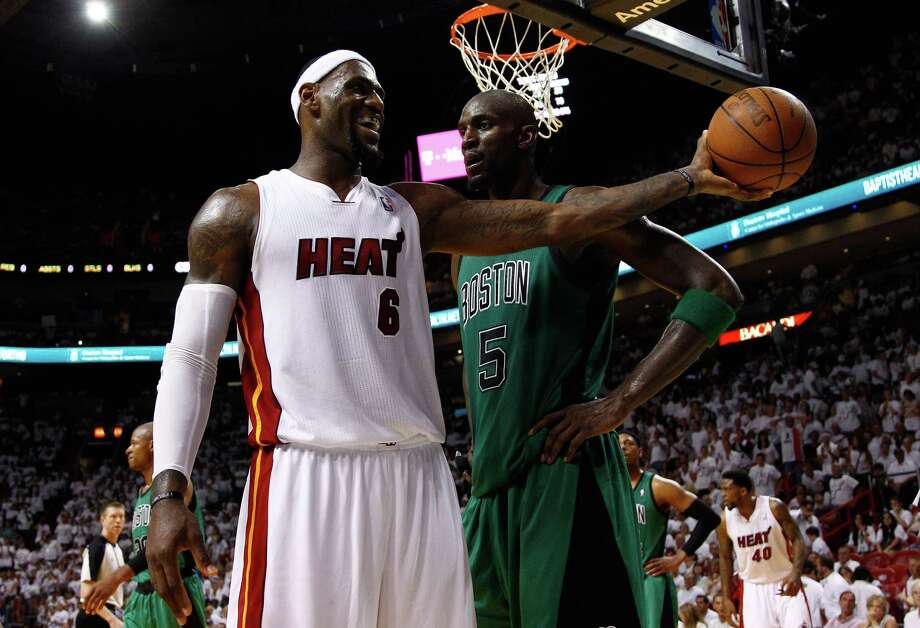 LeBron James (left) and the Heat had a handle on things against Kevin Garnett and Boston on Monday. Photo: Mike Ehrmann, Getty Images / 2012 Getty Images