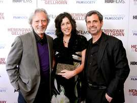 Director Phil Kaufman (left) with his daughter-in-law, Christine Pelosi and son, Hemingway Producer Peter Kaufman. May 2012. By Catherine Bigelow.