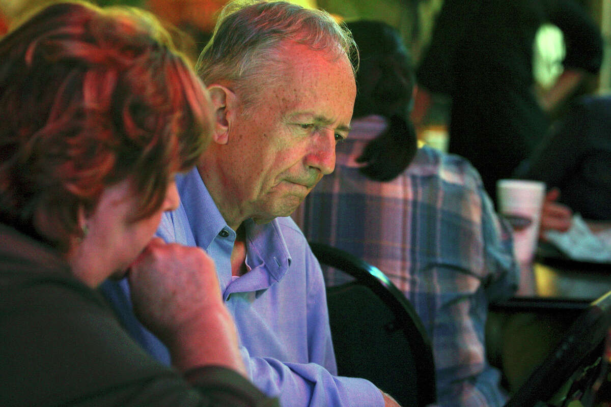 Texas Sen. Jeff Wentworth looks over results while waiting out eleciton night at Chester's Hamburgers, Tuesday, May 29, 2012. Wentworth is running tight race in the Republican District 25 primary with his main opponent, Elizabeth Ames Jones.