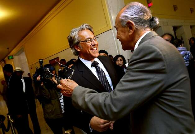 Mirkarimi is greeted by a supporter on his way into the Ethics Commission hearing. Photo: Sarah Rice, Special To The Chronicle