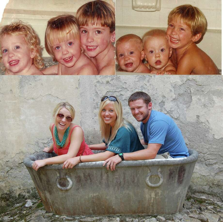 "From Don L. Merrill: ""The first picture (top right) was taken when the girls/twins (from left in all pics: Liz, Emma, Matt) were almost 1 and their brother, Matt, was almost 4. We liked it so much, we took it again in 1996 when the girls were 3 and Matt was 7. The bottom picture was taken this past summer, when my dad (their grandad) and I took them to Europe to celebrate Matt graduating from the Naval Academy. We saw this old empty bath tub at a botanical garden in Rome and the idea came to me to take the picture again."" Photo: COURTESY"
