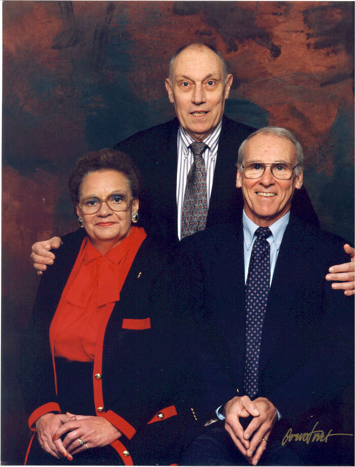 "The Brackenridge siblings Bruce (standing, now deceased), Douglas and Ida Mae (also deceased) in 1993. From Douglas: ""Bruce was a professor of physics at Lawrence University in Appleton, Wisconsin, I was a professor in department of religion at Trinity University, and my sister was a homemaker and later board of education secretary in Youngstown."" Photo: COURTESY"