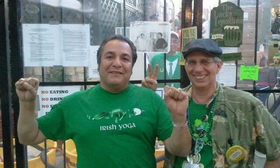 Friends Rick Klamm and Mark Carrillo in 2012. They are at NIOSA working the beer booth in the Irish