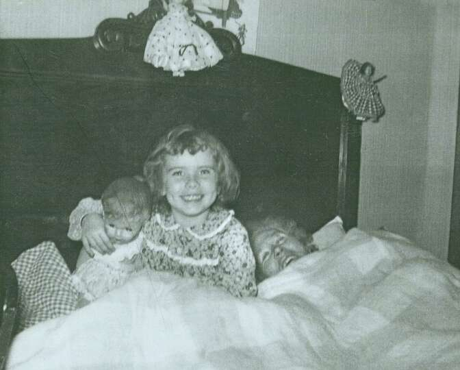 Anna Hansen, her granddaughter Charlotte Hirt, 5, and Charlotte's doll Betty, in San Antonio, 1955.