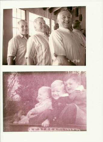Bottom, left to right, Robert, 1-1/2, Davis, 3-1/2 and Thomas Simpson in 1941, Santa Ana, Tex. Top photo, same brothers, same order, San Antonio 1998. Photo: COURTESY