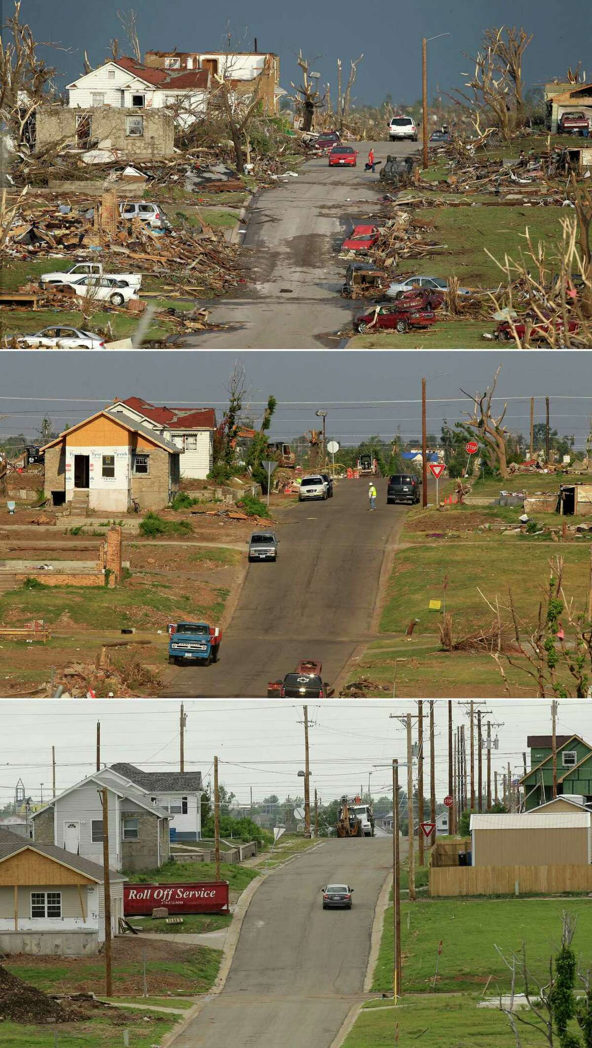 This three-photo combo shows a scene taken on May 23, 2011, top, July 21, 2011, center, and May 7, 2012, bottom, shows progress made in Joplin, Mo. in the year after an EF-5 tornado destroyed a large swath of the city and killed 161 people.