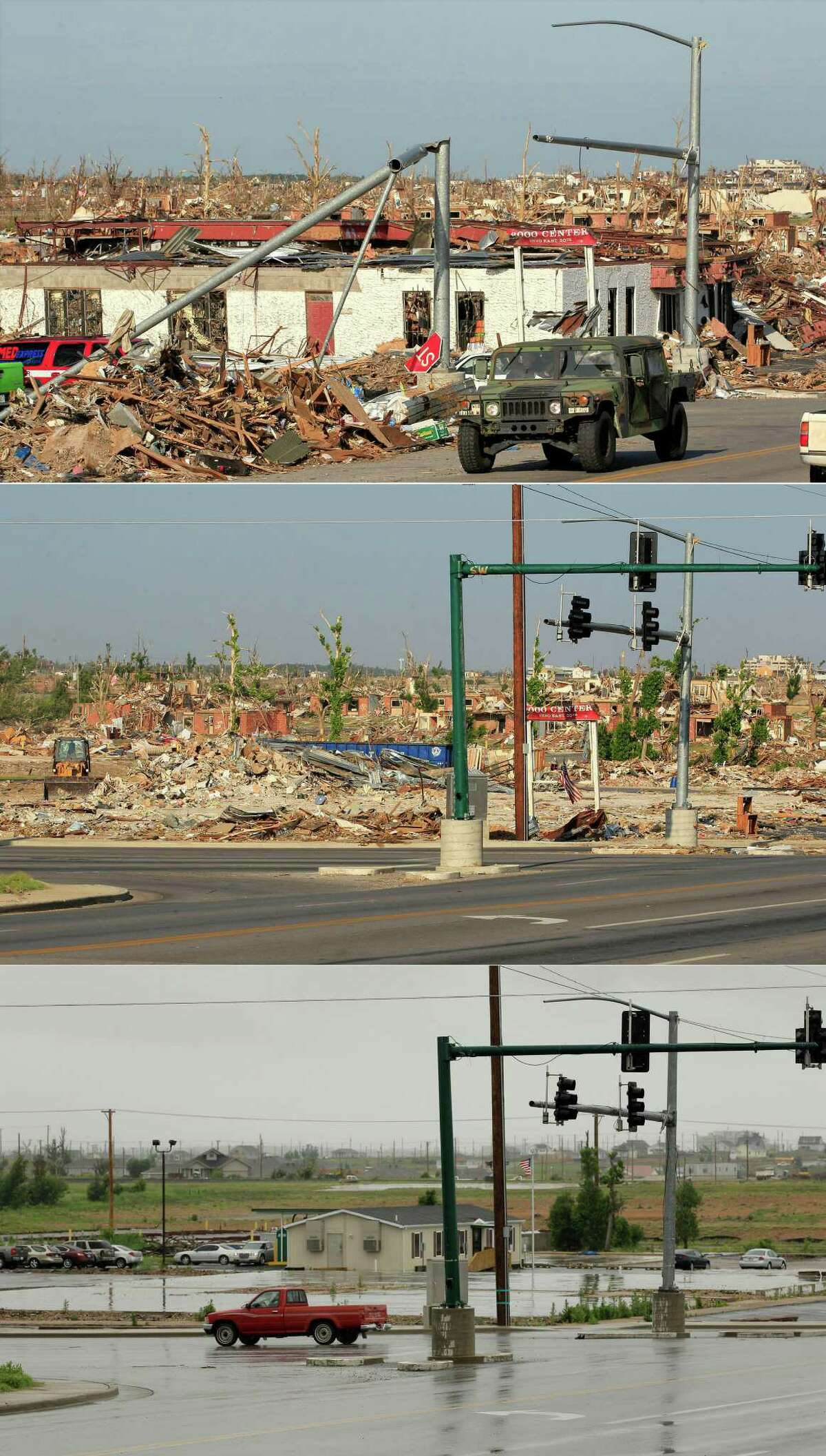 This three-photo combo shows a scene taken on May 27, 2011, top, July 21, 2011, center, and May 7, 2012, bottom, shows progress made in Joplin, Mo. in the year after an EF-5 tornado destroyed a large swath of the city and killed 161 people.