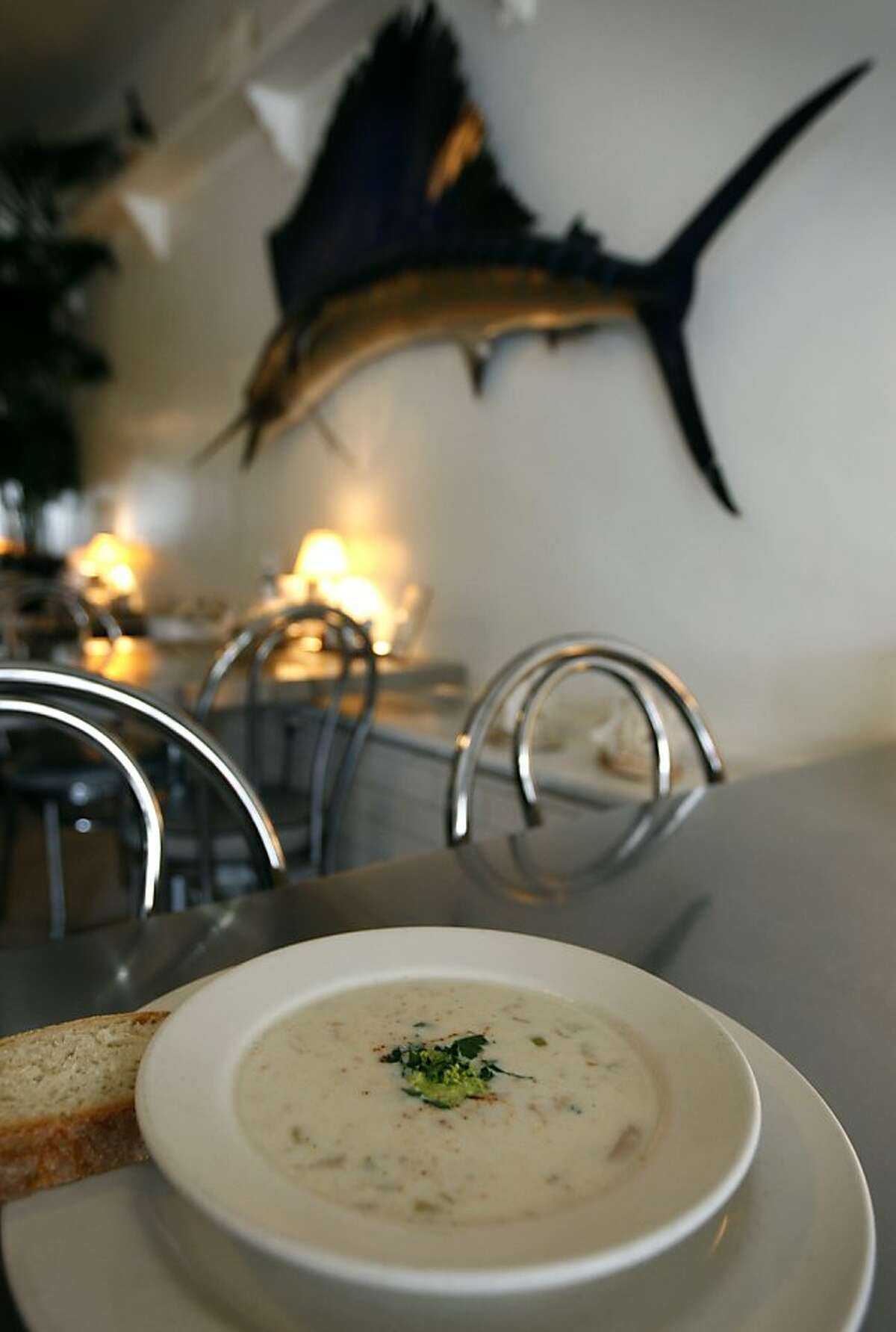 A bowl of Boston clam chowder is seen at the Anchor Oyster Bar restaurant in San Francisco, Calif., on Tuesday, Nov. 10, 2009.