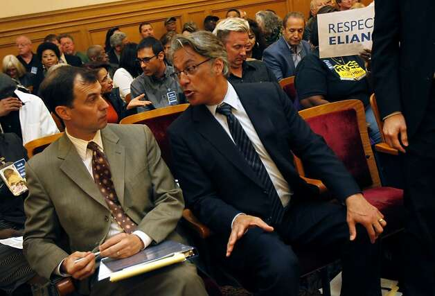 Ross Mirkarimi speaks with his lawyer during a recess in a San Francisco Ethics Commission hearing at City Hall in San Francisco, Calif. Tuesday, May 29, 2012. Photo: Sarah Rice, Special To The Chronicle