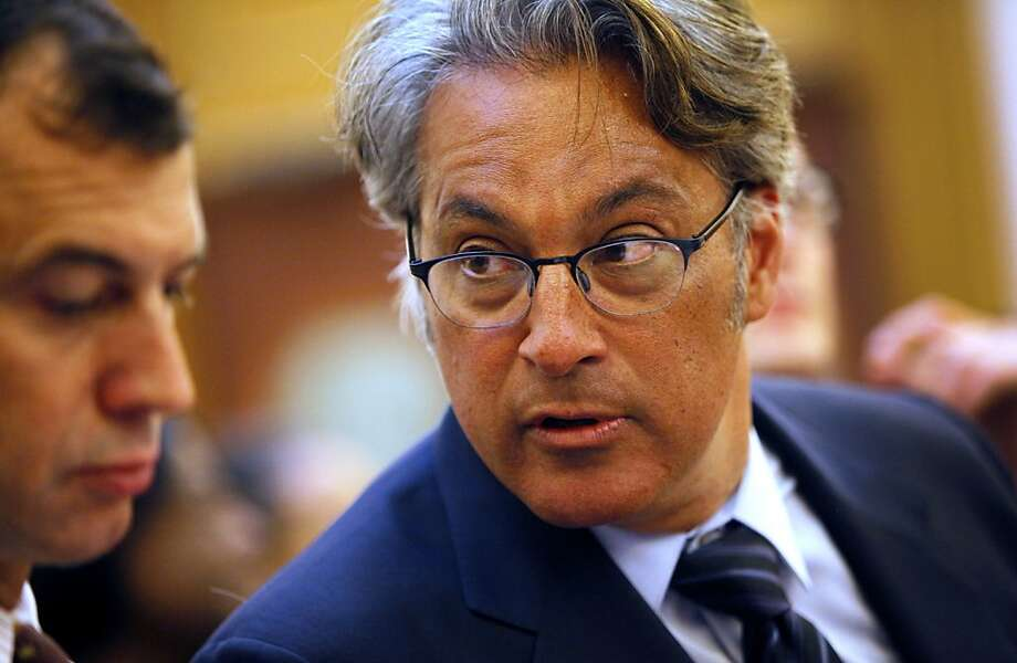Ross Mirkarimi confers with his lawyer at a San Francisco Ethics Commission hearing at City Hall in San Francisco, Calif. Tuesday, May 29, 2012. Photo: Sarah Rice, Special To The Chronicle