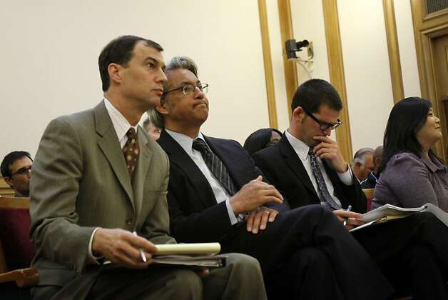 Ross Mirkarimi, second from left, appears at a San Francisco Ethics Commission hearing at City Hall in San Francisco, Calif. Tuesday, May 29, 2012. Photo: Sarah Rice, Special To The Chronicle