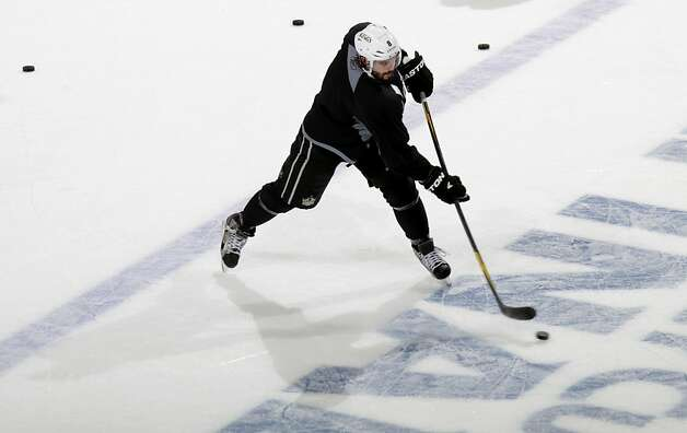 NEWARK, NJ - MAY 29:  Drew Doughty #8 of the Los Angeles Kings practices for the 2012 Stanley Cup Final Media Day at Prudential Center on May 29, 2012 in Newark, New Jersey.  (Photo by Bruce Bennett/Getty Images) Photo: Bruce Bennett, Getty Images