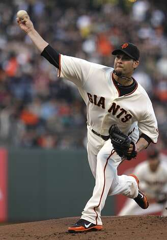 San Francisco Giants' Ryan Vogelsong works against the Arizona Diamondbacks during the first inning of a baseball game Tuesday, May 29, 2012, in San Francisco. (AP Photo/Ben Margot) Photo: Ben Margot, Associated Press