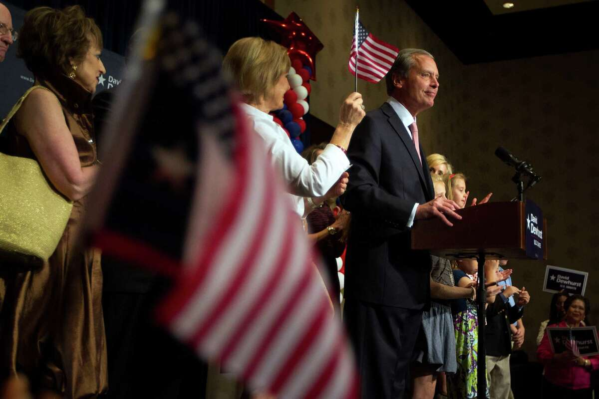 U.S. Senate candidate David Dewhurst addresses a crowd of supporters at the Intercontinental Hotel during a primary watch party on Tuesday, May 29, 2012, in Houston.