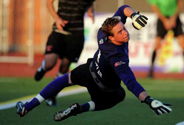 Goalkeeper Daryl Sattler of the San Antonio Scorpions watches a ball sail wide during a U.S. Open Cup match action against the Houston Dynamo at Heroes Stadium on Tuesday, May 29, 2012. Photo: Billy Calzada, Billy Calzada / Express-News / © 2012 San Antonio Express-News