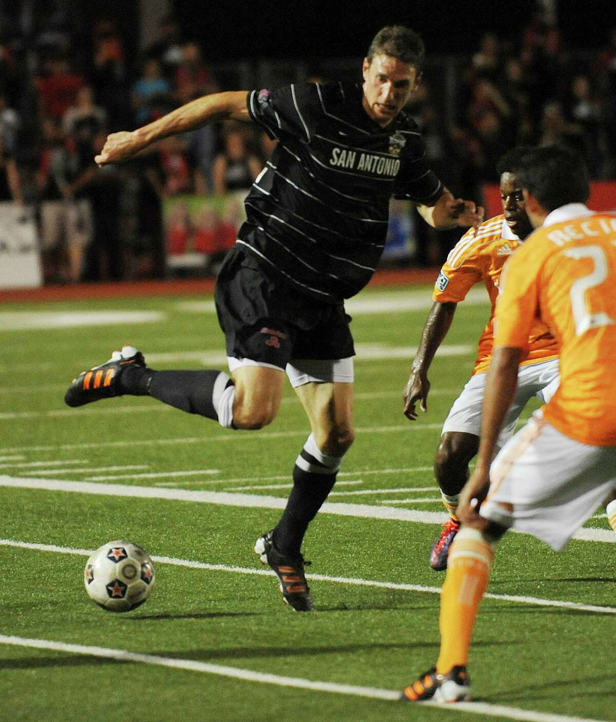 Aaron Pitchkolan of the San Antonio Scorpions controls the ball during U.S. Open Cup match action against the Houston Dynamo at Heroes Stadium on Tuesday, May 29, 2012.