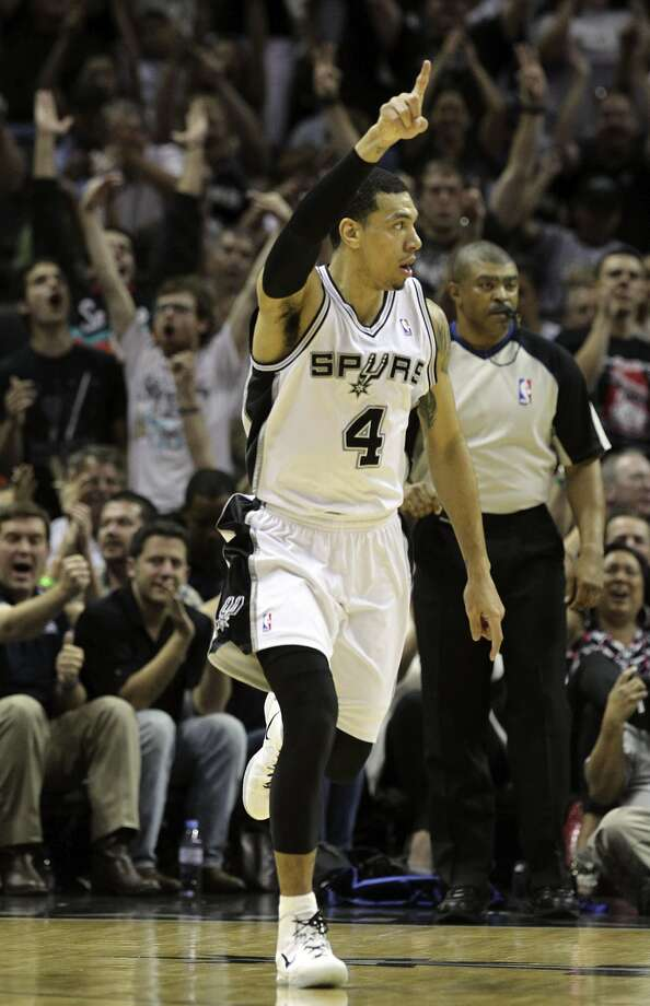 San Antonio Spurs' Danny Green (4) reacts after hitting a three point basket during the first half of game two of the NBA Western Conference Finals in San Antonio, Texas on Tuesday, May 29, 2012. Kin Man Hui/Express-News (Kin Man Hui / San Antonio Express-News)