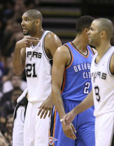 San Antonio Spurs' Tim Duncan (21) gestures after a play during the first half of game two of the NBA Western Conference Finals in San Antonio, Texas on Tuesday, May 29, 2012. (Edward A. Ornelas / San Antonio Express-News)