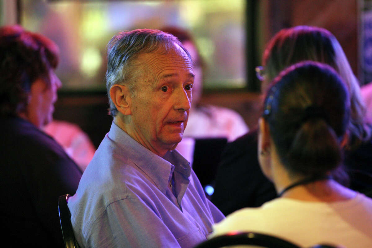 Texas Sen. Jeff Wentworth talks with Cyndi Taylor Krier while waiting for finals results on election night at Chester's Hamburgers, Tuesday, May 29, 2012. Wentworth is running tight race in the Republican District 25 primary with his main opponent, Elizabeth Ames Jones.
