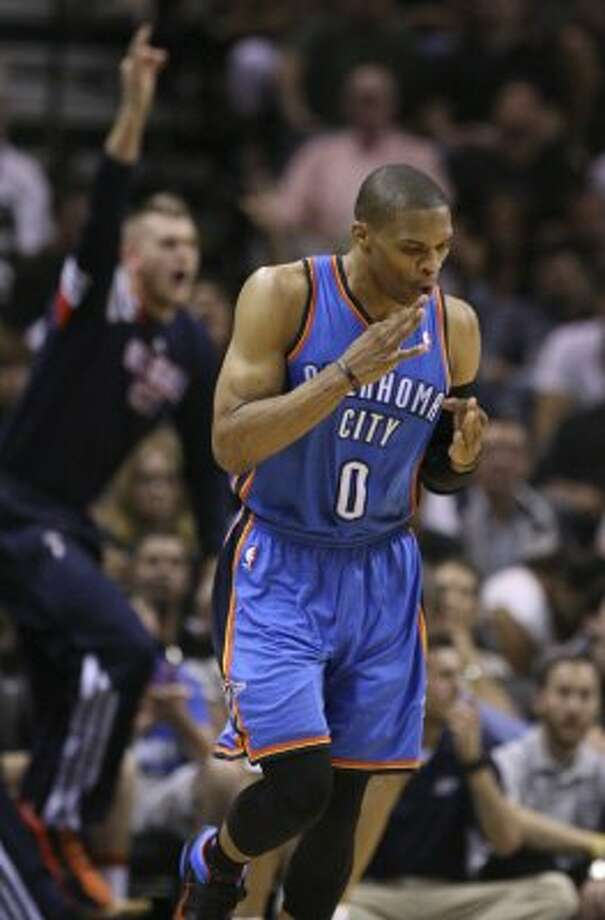 Oklahoma City Thunder's Russell Westbrook (0) reacts after hitting a three point basket during the first half of game two of the NBA Western Conference Finals in San Antonio, Texas on Tuesday, May 29, 2012. (Edward A. Ornelas / San Antonio Express-News)