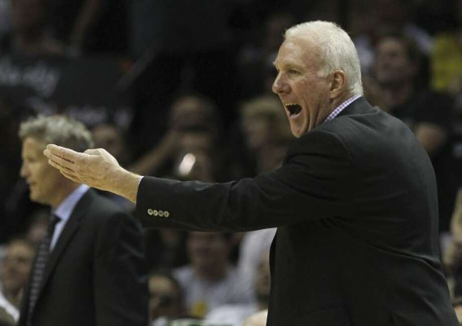 San Antonio Spurs coach Gregg Popovich gestures during the first half of game two of the NBA Western Conference Finals in San Antonio, Texas on Tuesday, May 29, 2012. Kin Man Hui/Express-News (Kin Man Hui / San Antonio Express-News)