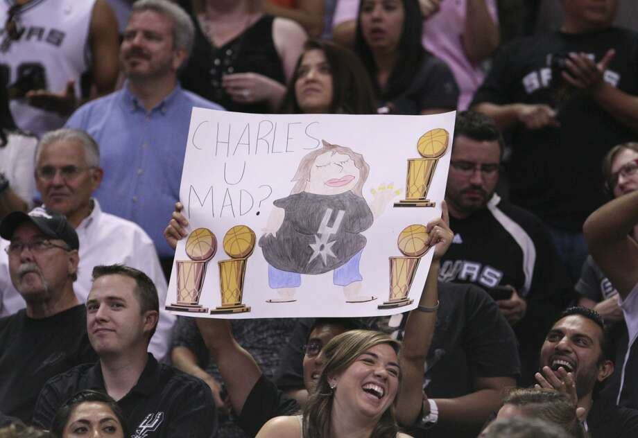 A fan holds up a sign during the first half of game two of the NBA Western Conference Finals in San Antonio, Texas on Tuesday, May 29, 2012. Edward A. Ornelas/Express-News (Edward A. Ornelas / San Antonio Express-News)