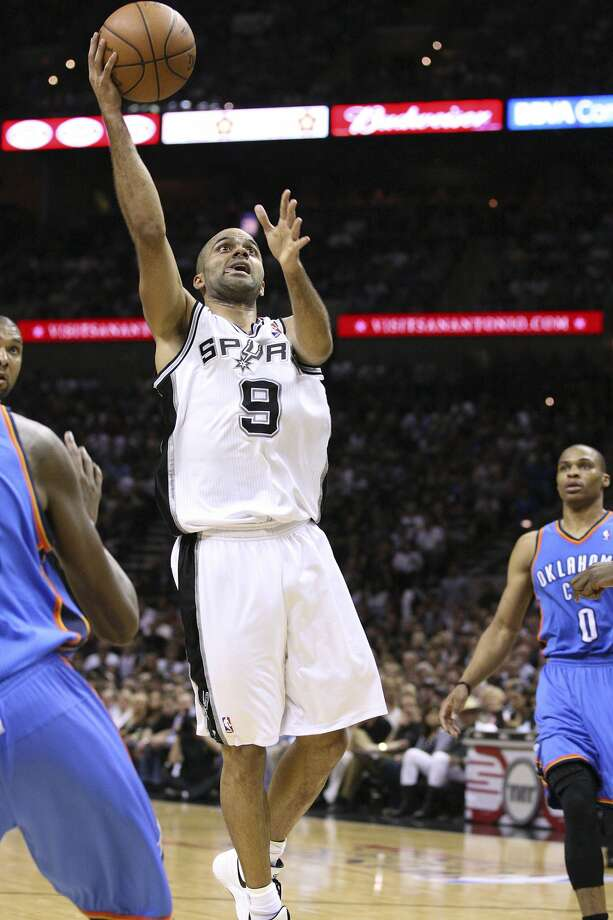 San Antonio Spurs' Tony Parker (9) shoots against the Oklahoma City Thunder during the first half of game two of the NBA Western Conference Finals in San Antonio, Texas on Tuesday, May 29, 2012.  Edward A. Ornelas/Express-News (Edward A. Ornelas / San Antonio Express-News)