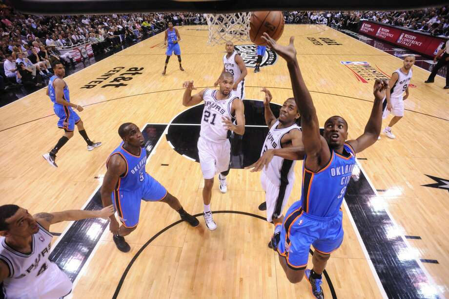 Oklahoma City Thunder's Serge Ibaka (9) drives to the basket during the first half of game two of the NBA Western Conference Finals in San Antonio, Texas on Tuesday, May 29, 2012.  Edward A. Ornelas/Express-News (Edward A. Ornelas / San Antonio Express-News)