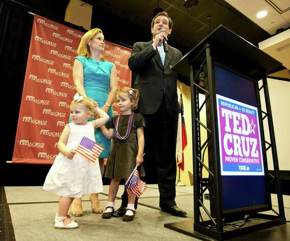 Ted Cruz, Republican candidate for U.S. Senator, talks to supporters with his wife Heidi Cruz and daughters Catherine (left) and Caroline, Tuesday, May 29, 2012, in the JW Marriott Houston in Houston. Cruz will run against Texas Lt. Governor David Dewhurst , who he challenged to five debates. Photo: Nick De La Torre, Houston Chronicle / © 2012  Houston Chronicle