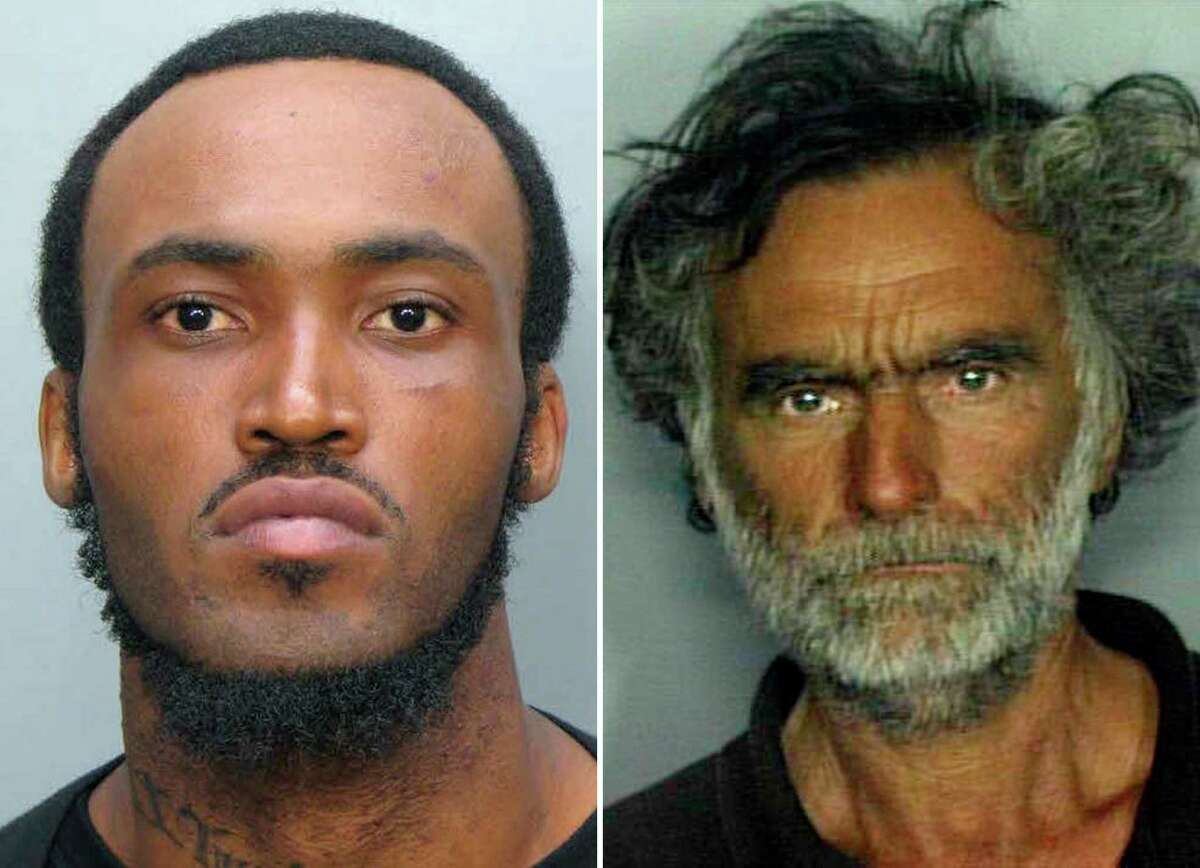 Rudy Eugene, 31, left, who police shot and killed as he ate the face of Ronald Poppo, 65, right, during a horrific attack in the shadow of the Miami Herald's headquarters on Saturday, May 26, 2012. Poppo was in critical condition Tuesday, with only his goatee intact on his face, the newspaper reported. (AP Photo/Miami-Dade Police Dept.)