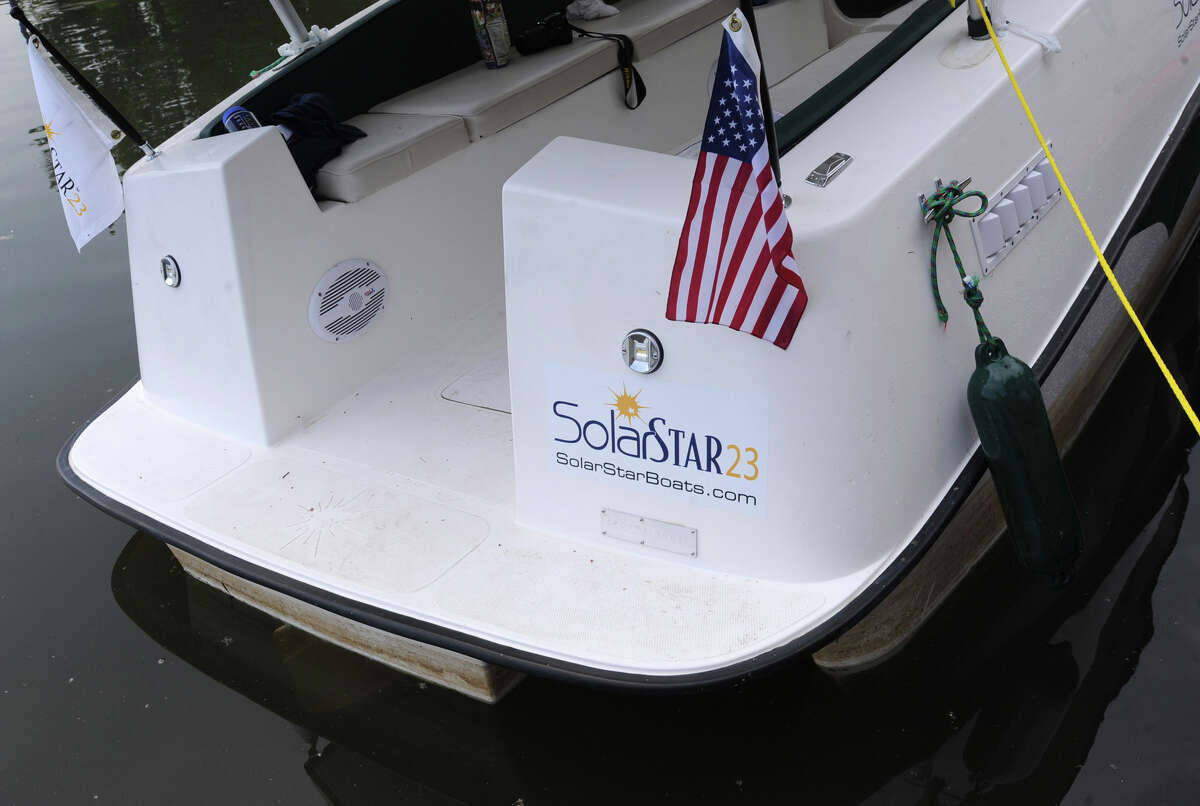 A SolarSTAR23 boat is docked at the Waterford Visitor Center May 29, 2012 in Wateford, N.Y. The solar powered boat was crewed by three men from Arizona on a 363-mile trip on the Erie Canal from Buffalo to Waterford. (Lori Van Buren / Times Union)