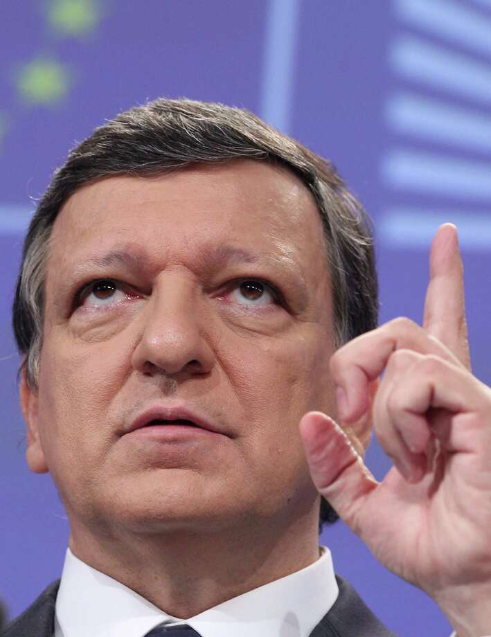 European Commission President Jose Manuel Barroso addresses the media on the next steps for stability, growth and jobs, at the European Commission headquarters in Brussels, Wednesday, May 30, 2012. (AP Photo/Yves Logghe) Photo: Yves Logghe / AP