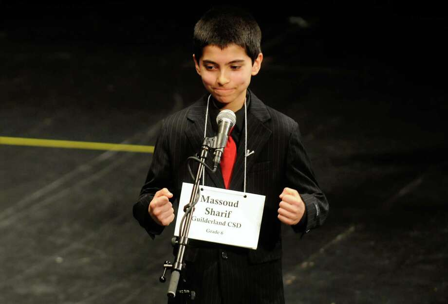 Massoud Sharif, a Guilderland sixth-grade student, wins the Greater Capital Region Spelling Bee at Proctors Theatre in Schenectady, New York, on Tuesday, Feb.7, 2012. Approximately 110 students from regional schools competed. Massoud is the brother of 2011 winner Mateen Sharif  ( Michael P. Farrell/Times Union archive) Photo: Michael P. Farrell / 00016299A