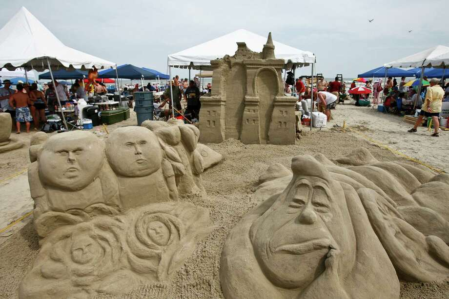 Sand castles are displayed during the annual AIA Sandcastle Competition on Galveston's East Beach Saturday, June 5, 2010, in Galveston. ( Michael Paulsen / Houston Chronicle ) Photo: Michael Paulsen / Houston Chronicle