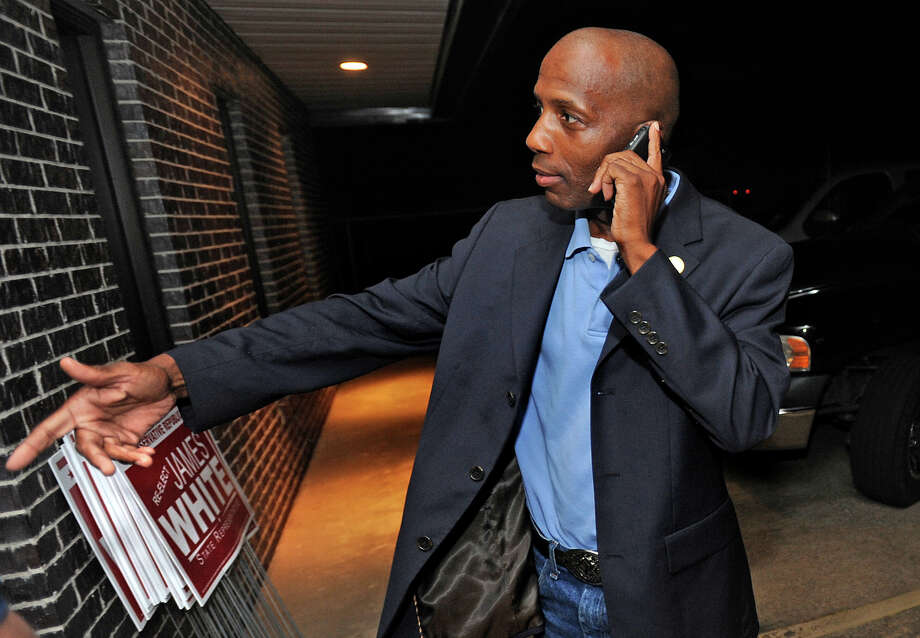 James White takes a call from Governor Rick Perry at his election party in Lumberton Tuesday night. White is running for state representative. Photo taken Tuesday, May 29, 2012 Guiseppe Barranco/The Enterprise Photo: Guiseppe Barranco, STAFF PHOTOGRAPHER / The Beaumont Enterprise