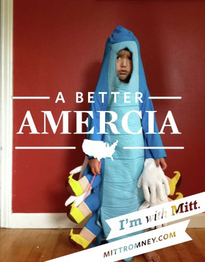"""""""A Better 'Amercia'"""" is overlaid on a photo created with the """"I'm With Mitt"""" iPhone app. The misspelling of America has turned into an Internet sensation and likely embarrrasment for the Mitt Romney campaign. Photo: Staff / seattlepi.com"""