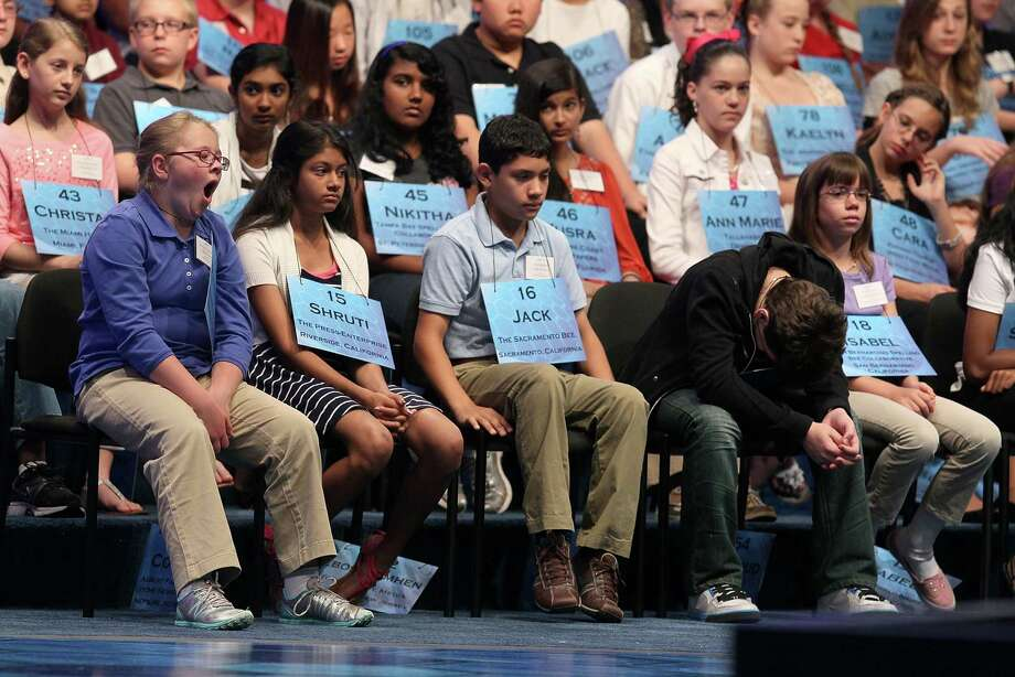 Spellers participate in the second round of the 2012 Scripps National Spelling Bee competition in National Harbor, Md. Photo: Mark Wilson, Getty Images / 2012 Getty Images