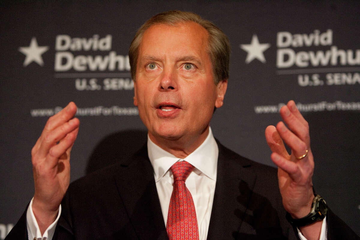 Lt. Gov. David Dewhurst speaks during a news conference at the InterContinental Houston Wednesday, May 30, 2012, in Houston.