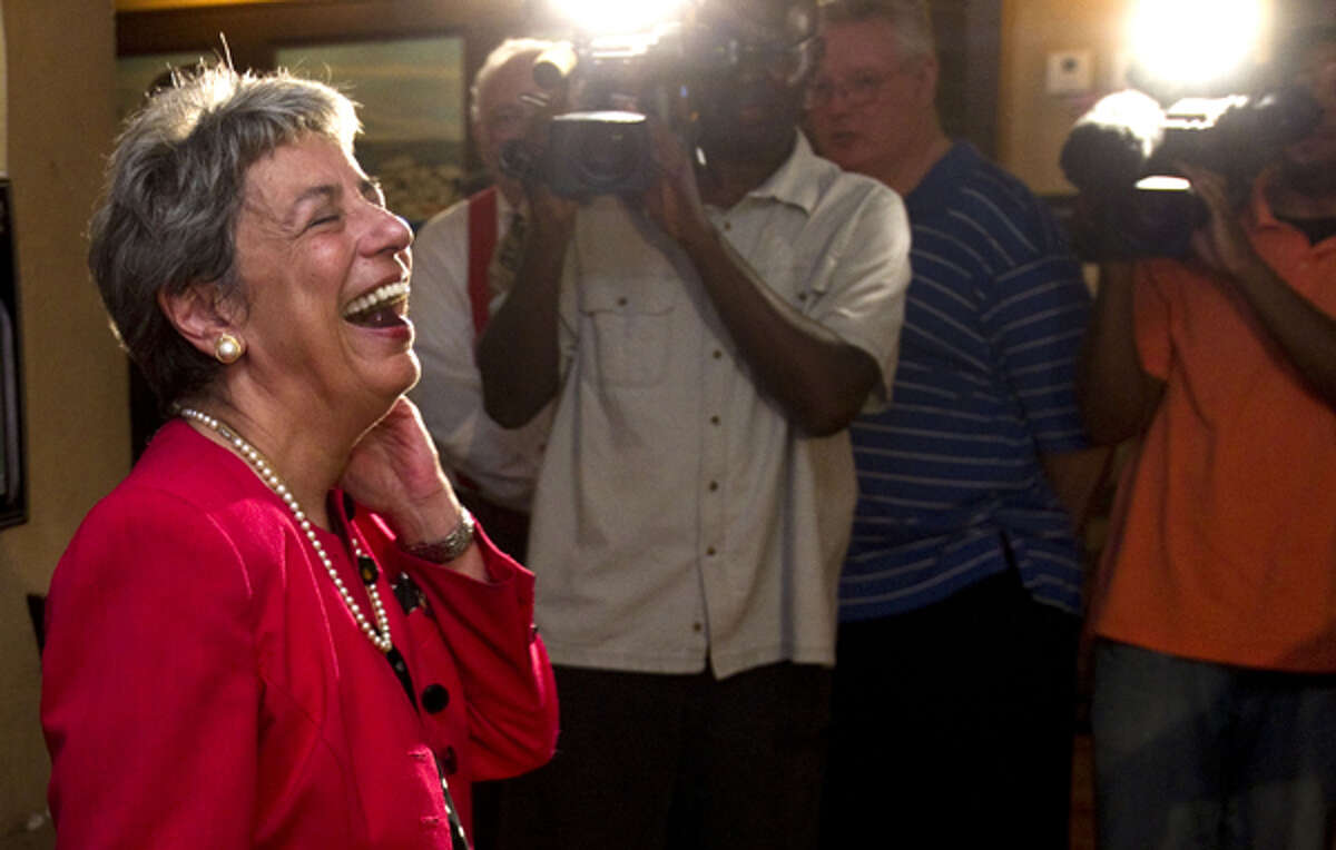 Harris County District Attorney Pat Lykos laughs as she greets supporters during her primary election watch party Tuesday, May 29, 2012, in Houston. ( Brett Coomer / Houston Chronicle ) (Houston Chronicle)