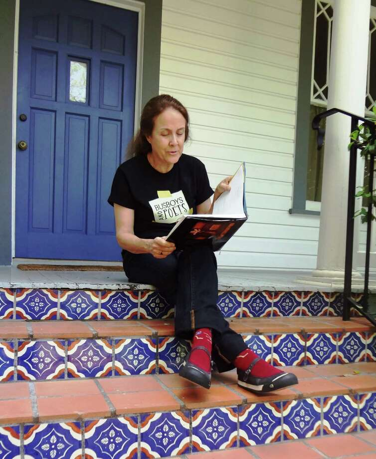 Naomi Shihab Nye reads a poem on her front porch in Southtown. Photo: Photo By Steve Bennett