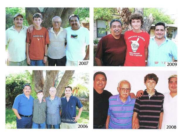 "The Cueva men, beginning in 2006 (left to right) son Jose M. Cueva, great-grandson, Jose B. Cueva, father Jose E. Cueva and grandson Jose A. Cueva. The same four pose (sometimes in a different order) in 2007, 2008 and, after Jose E. Cueva passed away, in 2009. From Jose M. Cuerva: ""My Grandfather died in 1929 when my Dad was 8, so I never met him, but have pictures of him...and I thought of this idea for future generations of my family to have and hopefully carry in the future. I figured I'd call it Cuatro Cuevas because my Dad, myself, my son and his son are the main characters and so on every one of my grandson's birthdays I started taking this picture in the back of my Father's yard by a large tree. It began in August of 1994 and we have taken the picture every year since and I explained to my grandson that one day my father would no longer be a part of it and then we would call it Tres Cuevas until he would marry and have a son and carry this tradition and revert back to Cuatro Cuevas. My Father passed away in April 2009 eight months after the last picture in 2008 and my grandson asked me after the funeral if we were going to start with the Tres Cuevas picture since his great-grandfather had passed away and I said yes... and his comment was, 'Now I understand why.'"" Photo: COURTESY"