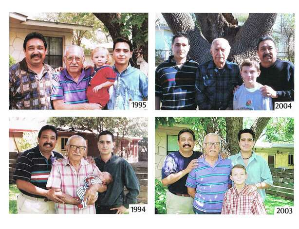 The Cueva men, beginning in 1994 (left to right) son Jose M. Cueva, father Jose E. Cueva (holding his great-grandson, Jose B. Cueva) and grandson Jose A. Cueva. The same four pose (sometimes in a different order) in 1995, 2003 and 2004. Photo: COURTESY