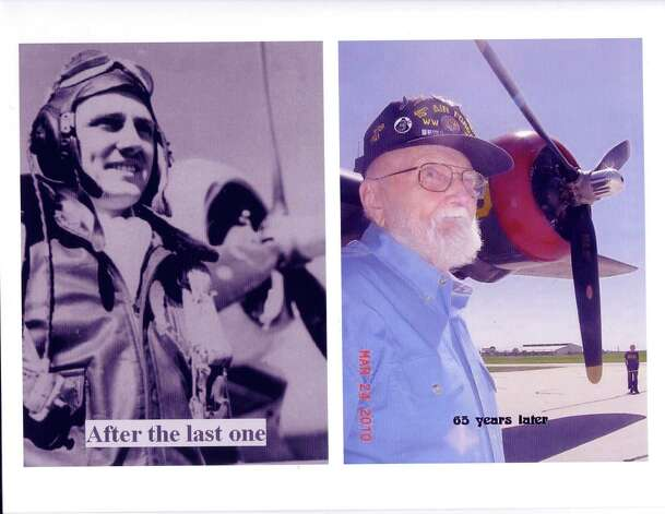 (Top) Gordon Brown in Manduria, Italy, in March 1945, after his last mission. (Bottom) Brown 65 years later at an airport in Seguin, stands in front of a WWII B-24 aircraft made a stop there in 2010. Photo: COURTESY