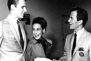A young Rick Barry meets with ABA Oakland Oaks owner Pat Boone. Oct. 13, 1967.