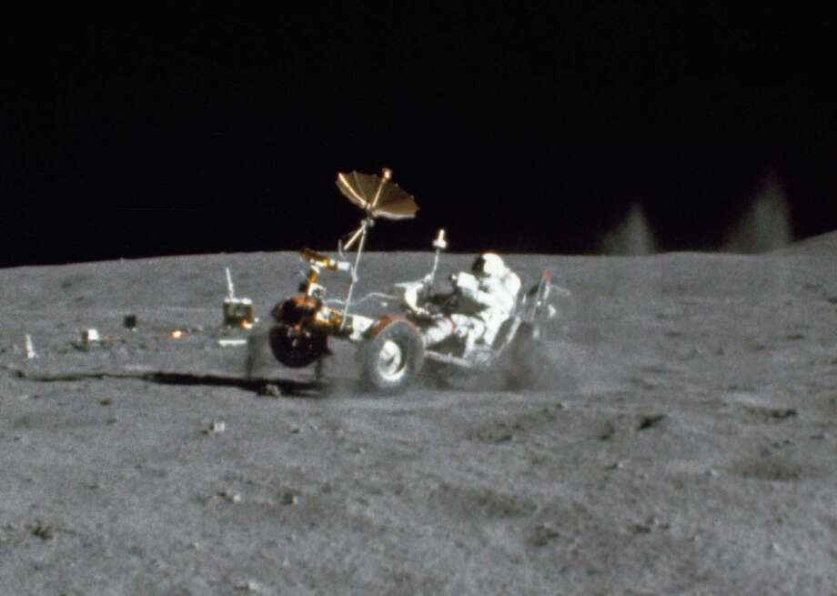 Apollo missions 15, 16 and 17 also left behind electric Lunar Roving Vehicles. Here, astronaut John Young pops a wheelie with the Apollo 16 rover. An pioneer at NASA, Young died in his sleep on Friday. Photo: Charles Duke/NASA